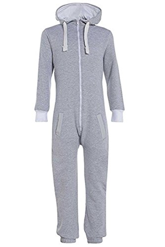 Unisex Jungen Kinder Plain Strampelanzug Zip up All in One Kapuzen Jumpsuit 7-13 (9-10, Geay)
