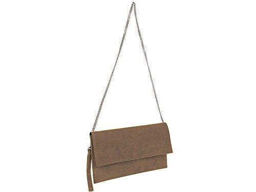 scarlet bijoux Damen Clutch Tasche Unterarmtasche Abendtasche Umhängetasche Taupe ca. 31 x 17 x 1 cm (B x H x T)