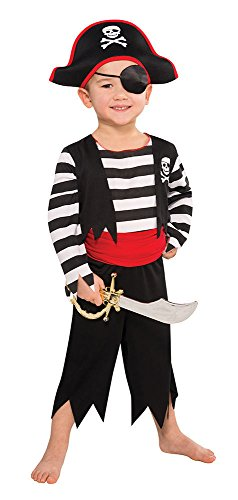 Piraten Kostüm für Jungen - Schwarz, Rot, Weiß - M - Gr. 128 - 5-7 Jahre