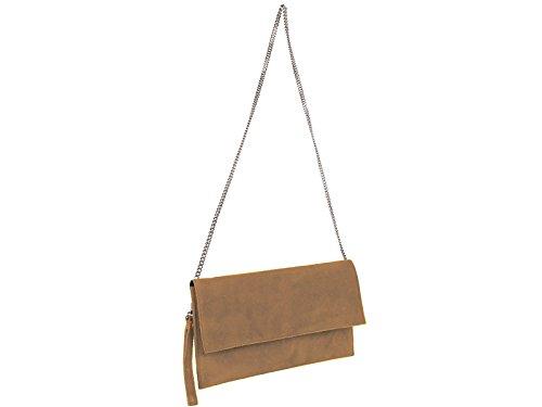 scarlet bijoux Damen Clutch Tasche Unterarmtasche Abendtasche Umhängetasche cognac ca.31 x 17 x 1 cm (B x H x T)