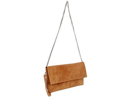 scarlet bijoux Damen Clutch Tasche Unterarmtasche Abendtasche Umhängetasche kamel ca. 31 x 17 x 1 cm (B x H x T)