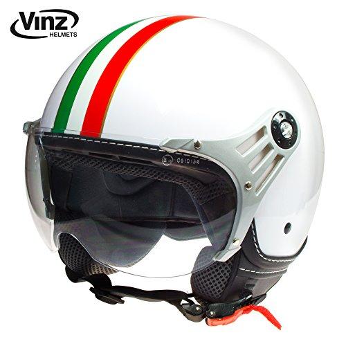 Vinz Rollerhelm Jethelm Fashionhelm | Roller Jet Helm mit Streifen | in Gr. XS-XL | Motorradhelm mit Visier | ECE zertifiziert (S, Weiß Italy)