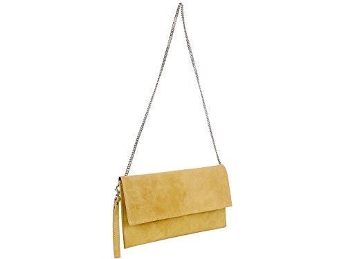scarlet bijoux Damen Clutch Tasche Unterarmtasche Abendtasche Umhängetasche gelb ca. 31 x 17 x 1 cm (B x H x T)