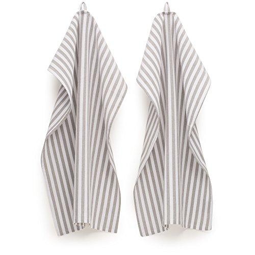 FILU Geschirrhandtücher 4 Stück (100% Baumwolle) Grau/Weiß Gestreift 45 x 70 cm (Farbe und Design Wählbar); Hochwertig gefertigte Küchenhandtücher/Geschirrtücher im skandinavischen Landhaus-Stil