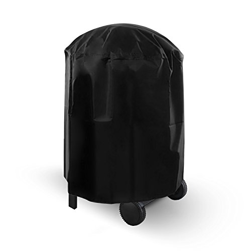 Dokon Grill Abdeckhaube, Kugelgrill Abdeckung Wasserdichtes Atmungsaktives Oxford-Gewebe BBQ Cover Schutzhuelle Haube, Rund (71x68cm) - Schwarz