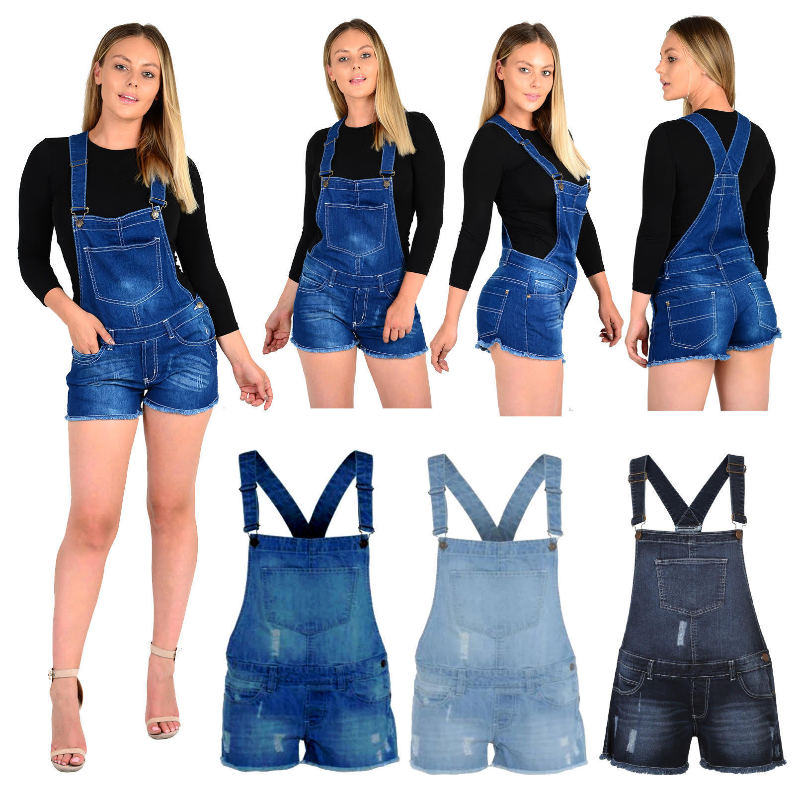 Womens Ladies Girls Dungarees Monika Stretch Denim Jeans Short Dress Jumpsuit