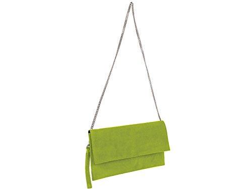 scarlet bijoux Damen Clutch Tasche Unterarmtasche Abendtasche Umhängetasche hellgrün ca.31 x 17 x 1 cm (B x H x T)