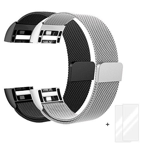 Fun Sponsor Fitbit Charge 2 Armband, Milanese Edelstahl Handgelenk Ersatzband Armbänder mit Magnet-Verschluss für Fitbit Charge2 Silber & Schwarz + Bonus 2 Displayschutzfolie by