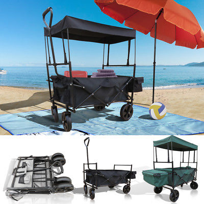 Bollerwagen faltbar mit Dach Strandwagen Handwagen Transportwagen Transportkarre