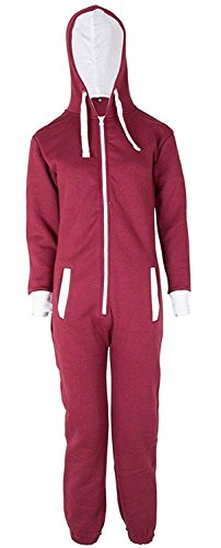 Unisex Jungen Kinder Plain Strampelanzug Zip up All in One Kapuzen Jumpsuit 7-13 (11-12, Wine)