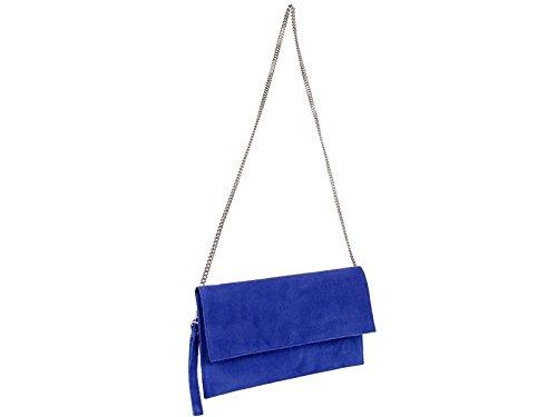 scarlet bijoux-Damen Clutch Tasche Unterarmtasche Abendtasche Umhängetasche blau ca. 31 x 17 x 1 cm (B x H x T)