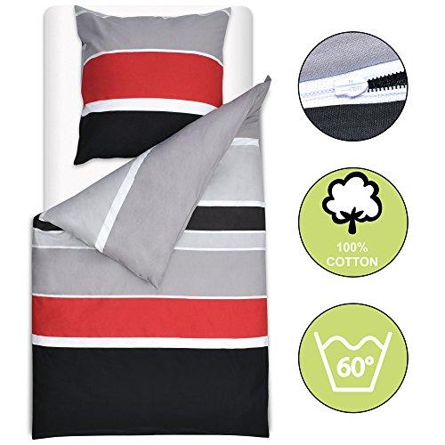 Beautissu Bettwäsche 135x200 cm Delia - gestreift mit Reißverschluss 100% Baumwolle - Bettbezug mit 80x80 cm Kissenbezug