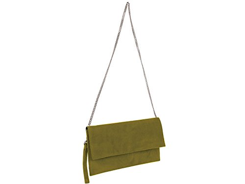 scarlet bijoux-Damen Clutch Tasche Unterarmtasche Abendtasche Umhängetasche olivgrün ca.31 x 17 x 1 cm (B x H x T)