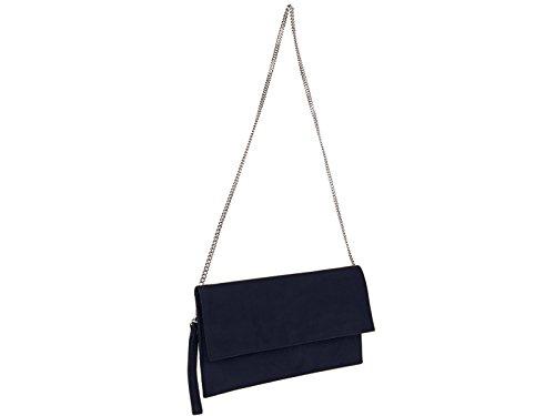 scarlet bijoux-Damen Clutch Tasche Unterarmtasche Abendtasche Umhängetasche dunkelblau ca. 31 x 17 x 1 cm (B x H x T)