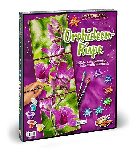 Noris Spiele Schipper 609470739 - Malen nach Zahlen, Triptychon-Orchideenrispe, Malset, 120 x 40 cm